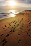 Voetafdrukken op het strand Stock Afbeeldingen