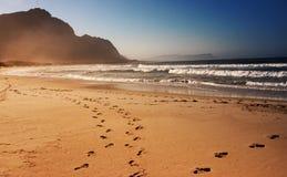 Voetafdrukken op het strand stock foto