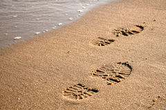 Voetafdrukken op het zand royalty-vrije stock fotografie
