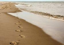 Voetafdrukken op het Zand Stock Afbeeldingen