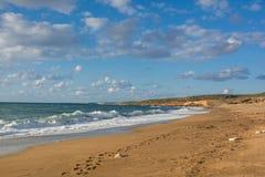 Voetafdrukken op het zand langs het strand op Akamas-Schiereiland, Cypr Stock Foto's
