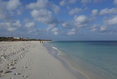 Voetafdrukken op Manchebo-Strand, Aruba stock foto's