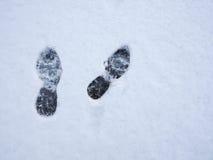 Voetafdrukken op verse sneeuwachtergrond Hoogste mening Stock Fotografie