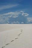 Voetafdrukken op witte zandduinen Stock Afbeelding