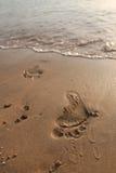 Voetafdrukken op zand Stock Afbeelding