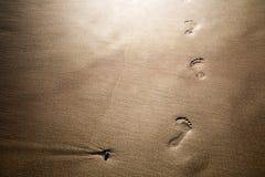 Voetafdrukken op zand Stock Afbeeldingen