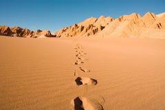 Voetafdrukken in Valle DE La Muerte in Atacama-Woestijn Royalty-vrije Stock Foto