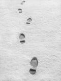 Voetafdrukken in verse sneeuw Stock Foto