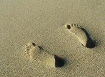 Voetafdrukken in Zand Stock Afbeelding