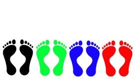 Voetafdrukken: Zwart, Groen, Blauw, Rood Royalty-vrije Stock Foto's
