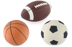 Voetbal, basketbal en rugbybal Royalty-vrije Stock Foto