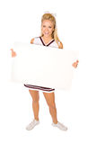 Voetbal: Cheerleader Holding Blank Sign royalty-vrije stock afbeeldingen