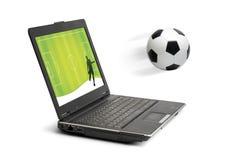 Voetbal in computer Stock Afbeelding