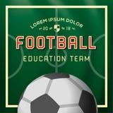 Voetbal, de achtergrond van het Voetbalontwerp, onderwijsteam, universiteit, school, club, vectorillustratie Stock Foto