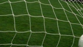 Voetbal die de rug van het net raken stock video