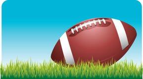 Voetbal die op voetbalgebied legt Stock Illustratie