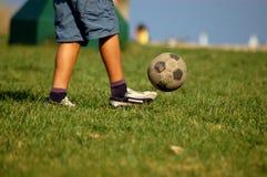 Voetbal in een park 2 Stock Foto