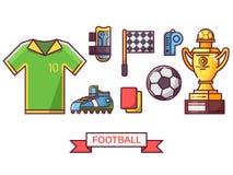 Voetbal en voetbal geplaatste pictogrammen Stock Afbeeldingen