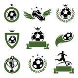 Voetbal en geplaatste voetbaletiketten en pictogrammen. Vector royalty-vrije illustratie