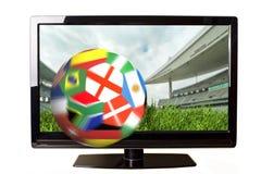 Voetbal en TV stock illustratie