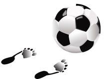 Voetbal en voet Stock Afbeelding