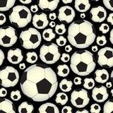 Voetbal en voetbalballen donker naadloos vectorpatroon eps10 Stock Afbeelding
