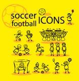 Voetbal, geplaatste voetbalpictogrammen Stock Foto