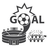 Voetbal, geplaatste voetbalpictogrammen Royalty-vrije Stock Afbeeldingen