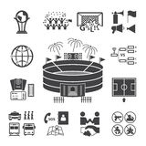 Voetbal, geplaatste voetbalpictogrammen Stock Afbeeldingen