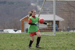 Voetbal Goalie met Bal Royalty-vrije Stock Foto