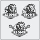 Voetbal, honkbal en hockeyemblemen en etiketten De emblemen van de sportclub met hoofd van leeuw Royalty-vrije Stock Fotografie
