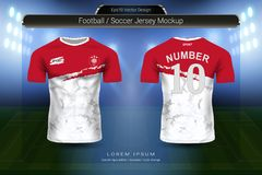 Voetbal Jersey en het modelmalplaatje van de t-shirtsport, Grafisch ontwerp voor voetbaluitrusting of activewear uniformen stock illustratie