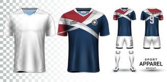 Voetbal Jersey en Voetbal Kit Presentation Mockup Template royalty-vrije illustratie