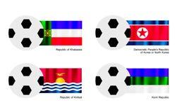 Voetbal met de Vlag van de Republiek van Khakassia, van Noord-Korea, Kiribati en van de Komi-Republiek Royalty-vrije Stock Foto's