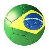 Voetbal met vlag van Brazilië Royalty-vrije Stock Fotografie