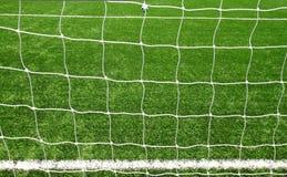 Voetbal netto op groen gras Royalty-vrije Stock Afbeelding