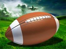 Voetbal op een gebied Stock Afbeeldingen