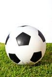 Voetbal op groen gras royalty-vrije stock afbeelding