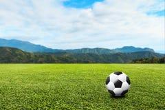 Voetbal op groene gazon en hemelachtergrond 3D illustratie of 3D Royalty-vrije Stock Afbeelding