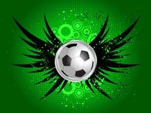 Voetbal op grungevleugels Stock Afbeeldingen