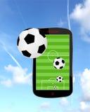 Voetbal op smartphone vector illustratie
