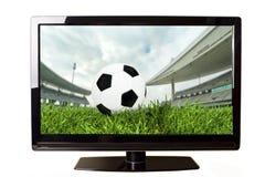 Voetbal op TV Stock Fotografie