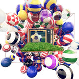 Voetbal op TV met glanzende kleuren van voetbalclubs Stock Illustratie