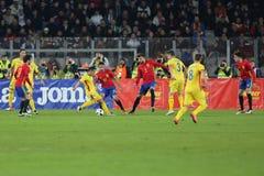 VOETBAL - ROEMENIË versus spanje Stock Fotografie