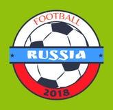 Voetbal Rusland 2018 Logo Isolated op Groene Kaart vector illustratie