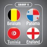 Voetbal Rusland Wereldkampioenschap De Realistic Football ballen van groepsg Stock Foto