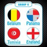 Voetbal Rusland Wereldkampioenschap De Realistic Football ballen van groepsg stock illustratie