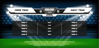 Voetbal of voetbal speelgebied met reeks infographic elementen Het spel van de sport De schijnwerper en het scorebord van het voe royalty-vrije illustratie
