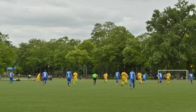 Voetbal Team Game in het Park stock afbeelding