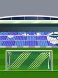 Voetbal twee gekleurd doel op stadion Stock Fotografie